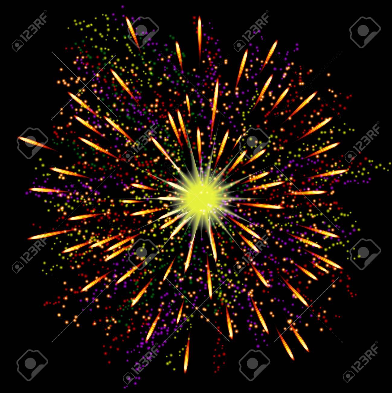 Fuegos Artificiales Festivos Abstractas Brillantes Sobre Fondo Negro