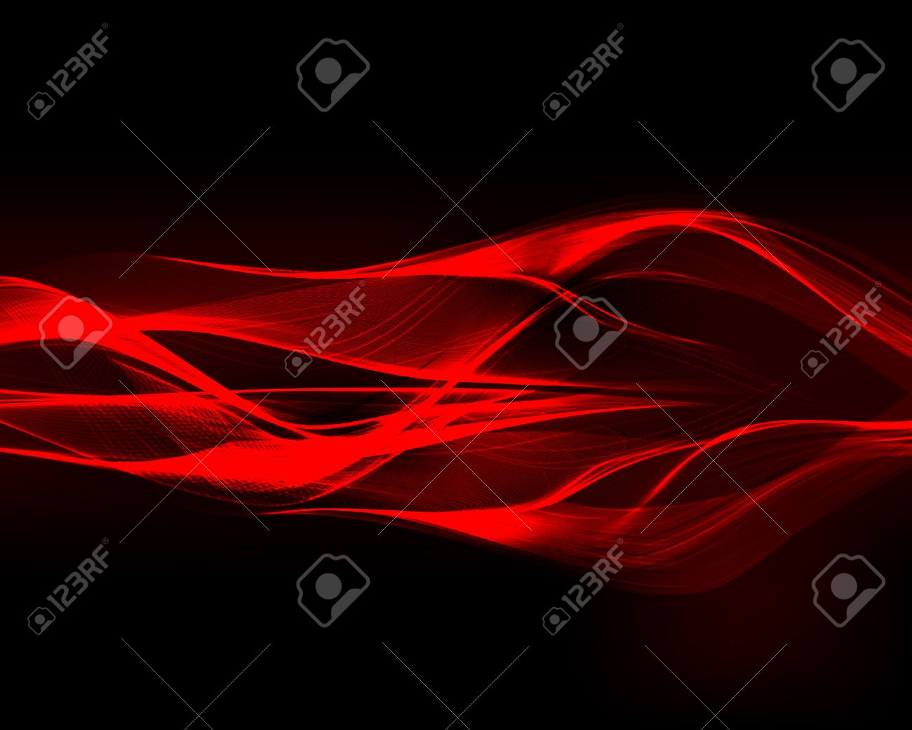 Abstract red waves on the dark background. Vector illustration. - 37492248