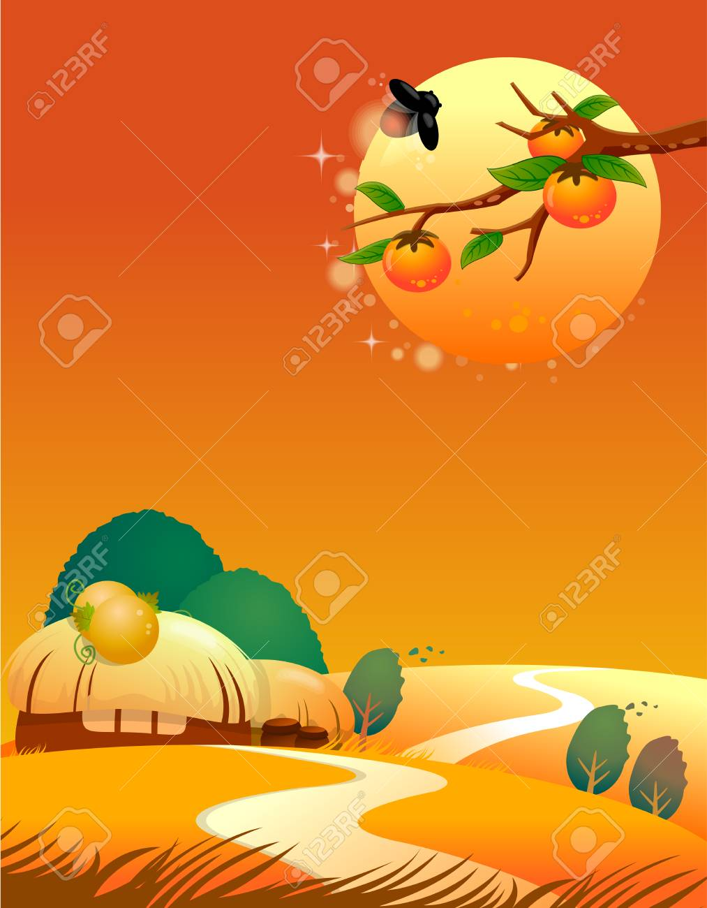 Vector picture of a decline against village Stock Vector - 4326226