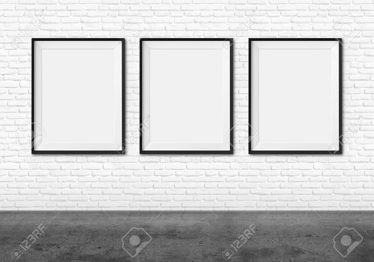 Art Gallery Blank Picture Frames On Brick Wall Background Stock Photo