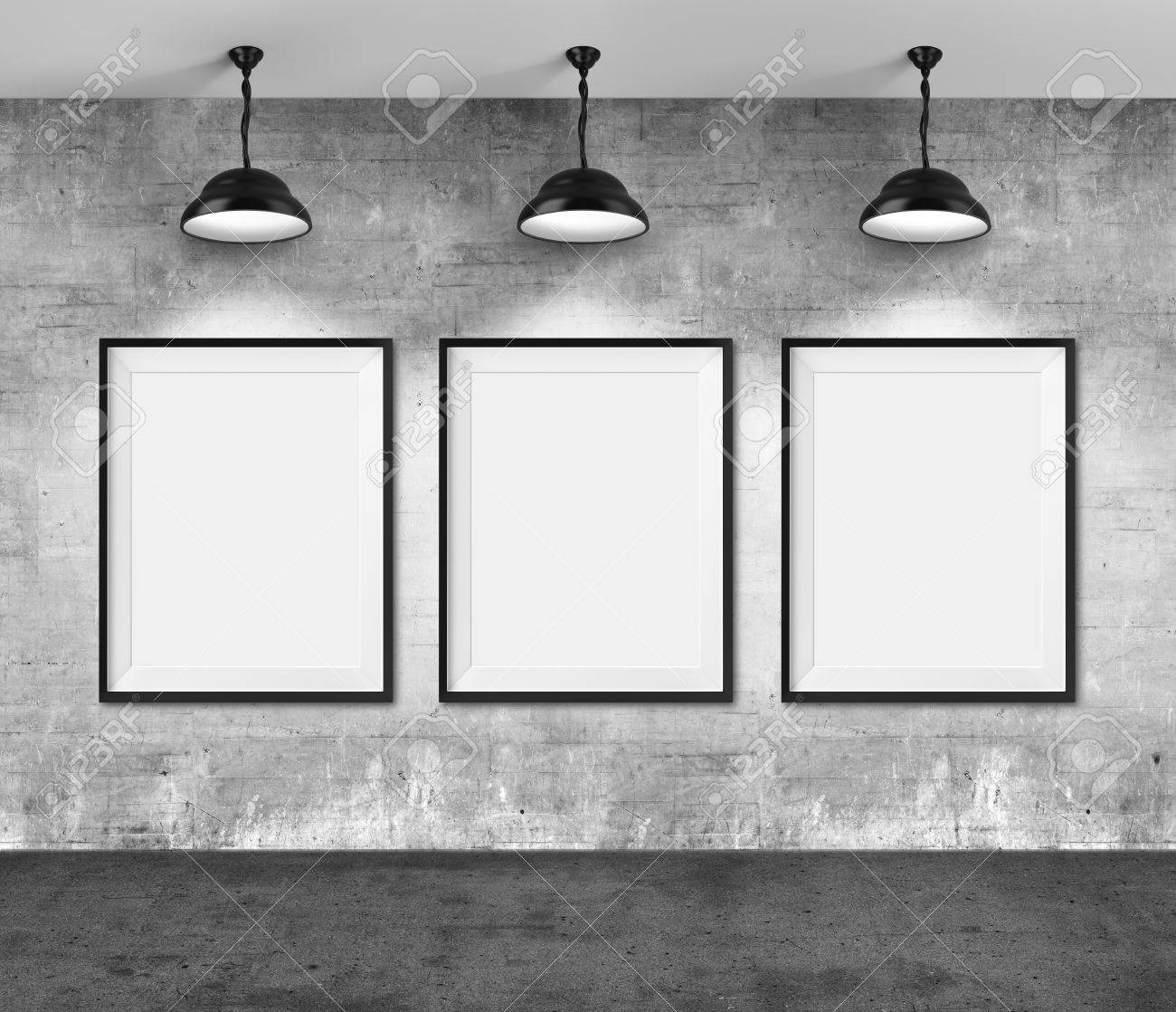 Art Gallery. Blank Picture Frames On Grunge Wall Background. Stock ...