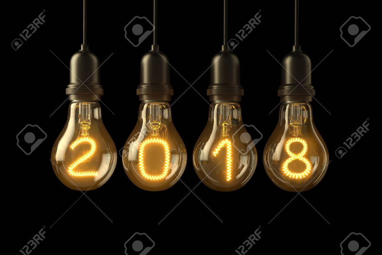 Christmas Lamp Light Bulbs Illuminated New Year 2018 On Black Stock Photo Picture And Royalty Free Image Image 67870126