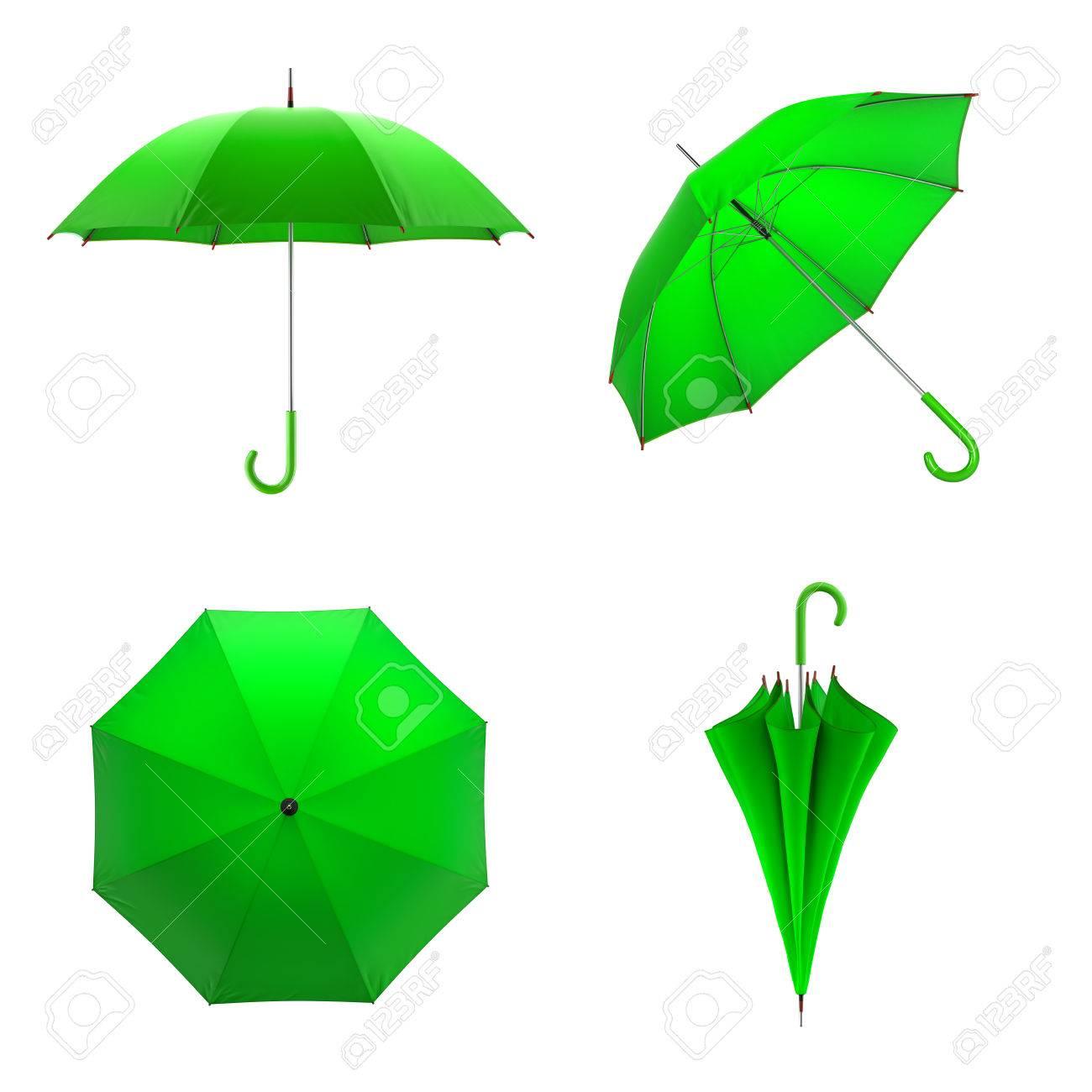 últimas tendencias de 2019 elegir despacho Descubrir Paraguas verde aislado en el fondo blanco. ilustración 3D