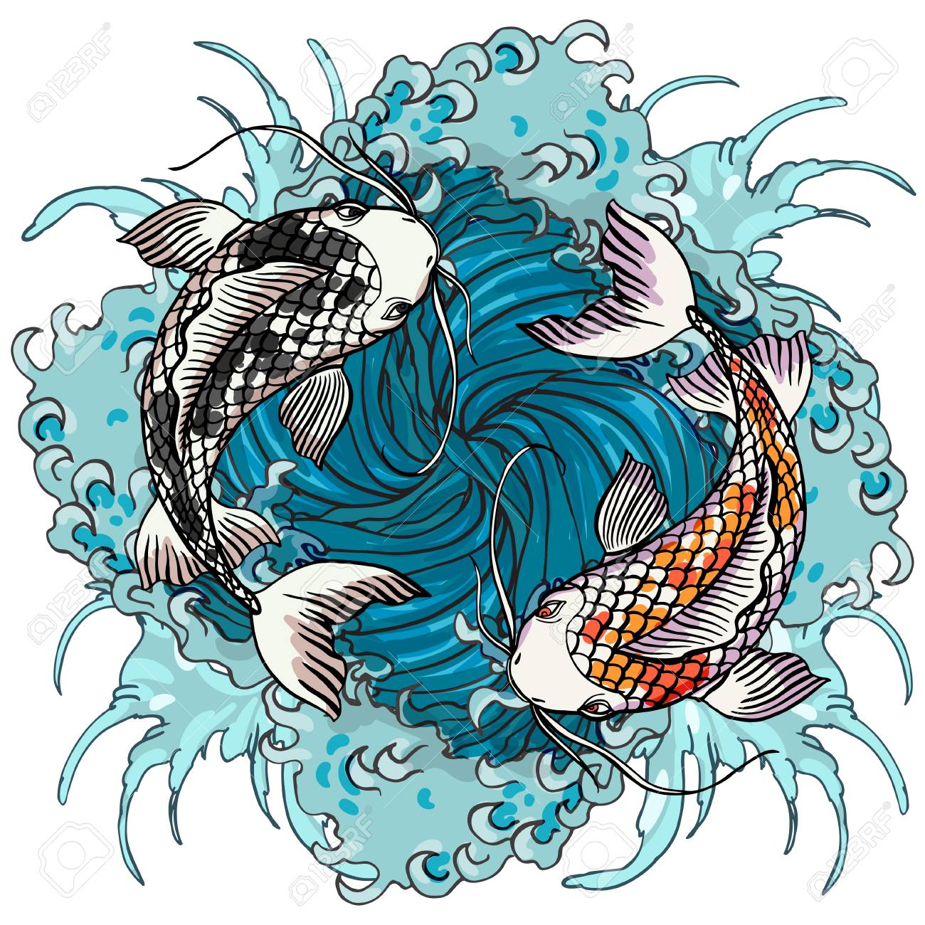 Realistic detailed hand drawn illustration of two koi carps swimming on background of water waves. Colorful graphic tattoo style image symbolising yin yang concept. T-shirt print. - 98867131