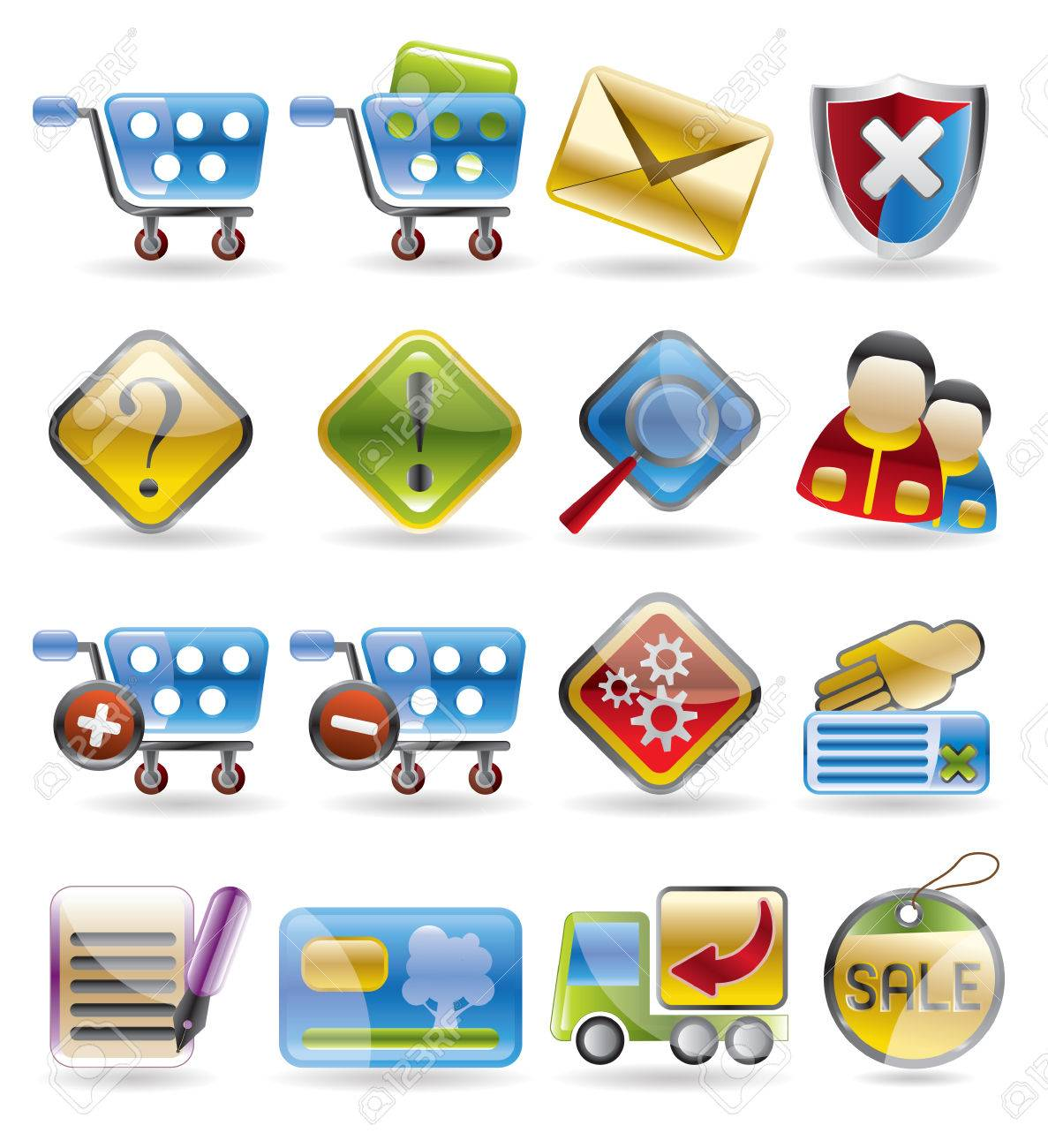 Online Shop Icon Set Stock Vector - 4397204