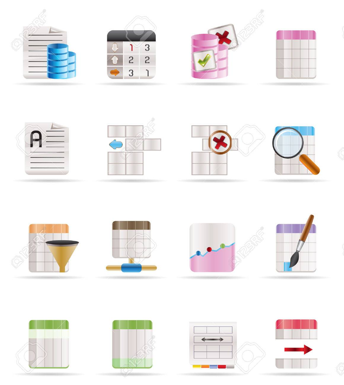 Database and Table Formatting Icons - Vector Icon Set Stock Vector - 4737062