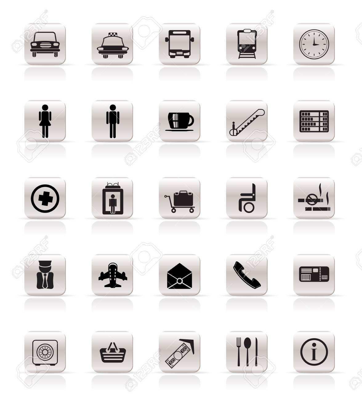 Airport, travel and transportation vector icon set Stock Vector - 4909418