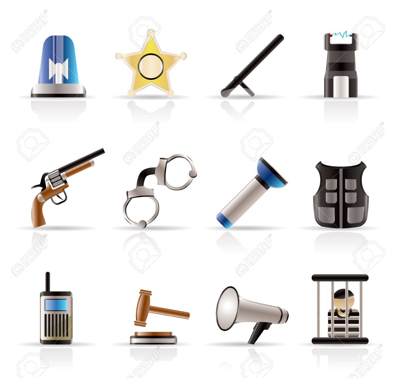 law, order, police and crime icons - vector icon set Stock Vector - 5185636
