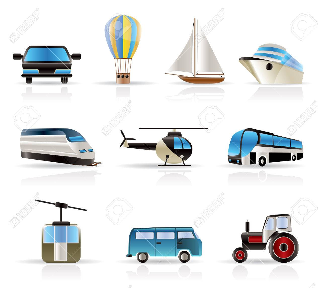 Transportation and travel icons - vector icon set Stock Vector - 5221826