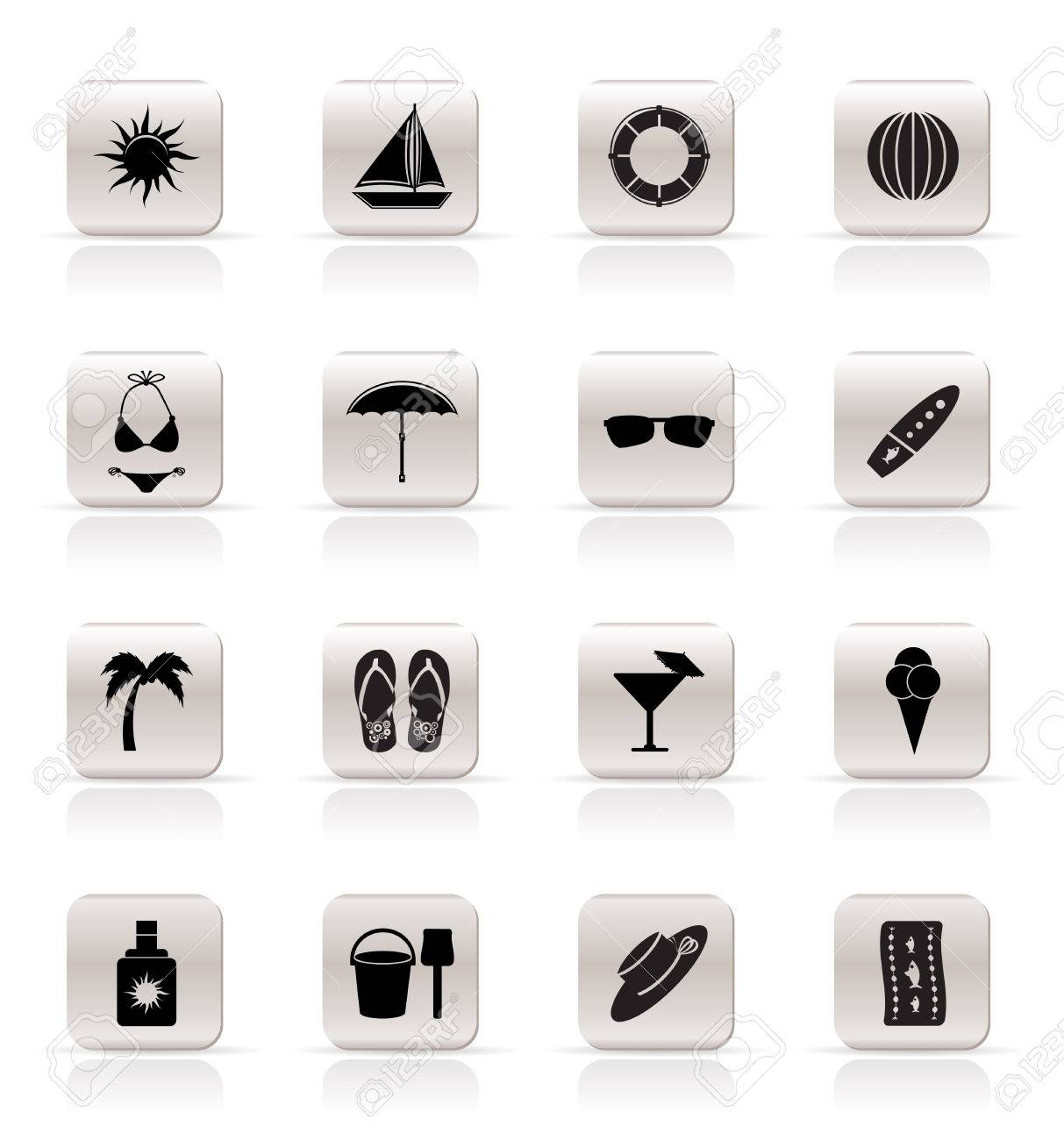 Simple Summer and Holiday Icons - Vector Icon Set Stock Vector - 5221823