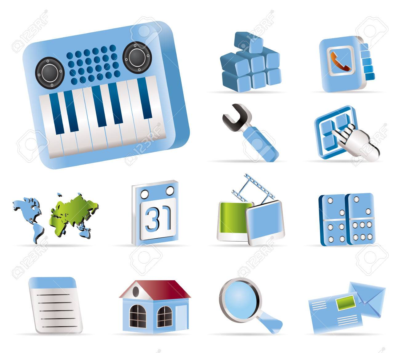 Realistic Mobile Phone and Computer icon - Vector Icon Set Stock Vector - 5454677