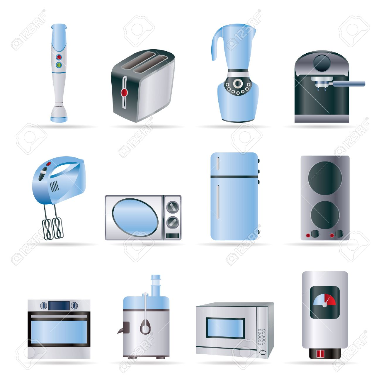 Home Kitchen Equipment Kitchen And Home Equipment Icons  Vector Icon Set Royalty Free