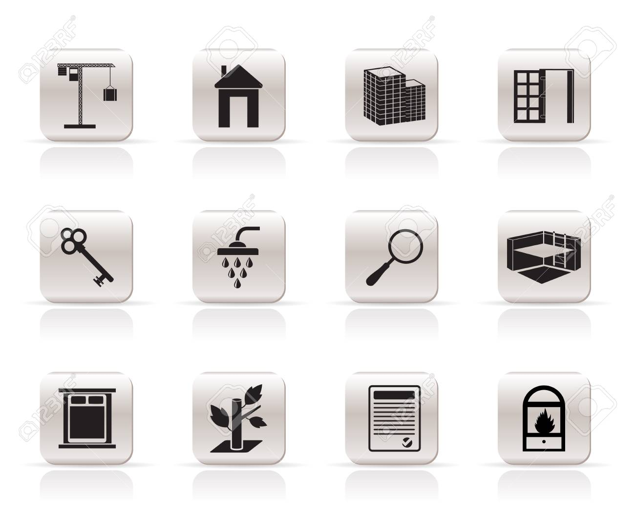 Simple Real Estate icons - Vector Icon Set Stock Vector - 5735762