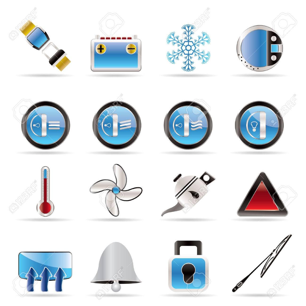 Car Dashboard - realistic vector icons set Stock Vector - 5915415