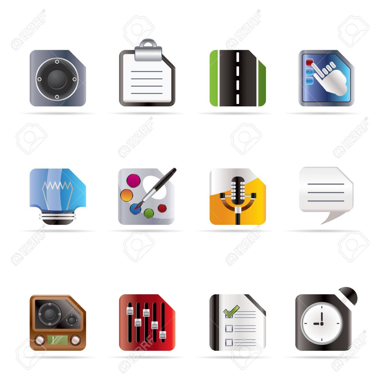 Mobile Phone, Computer and Internet Icons - Vector Icon Set 3 Stock Vector - 6082791