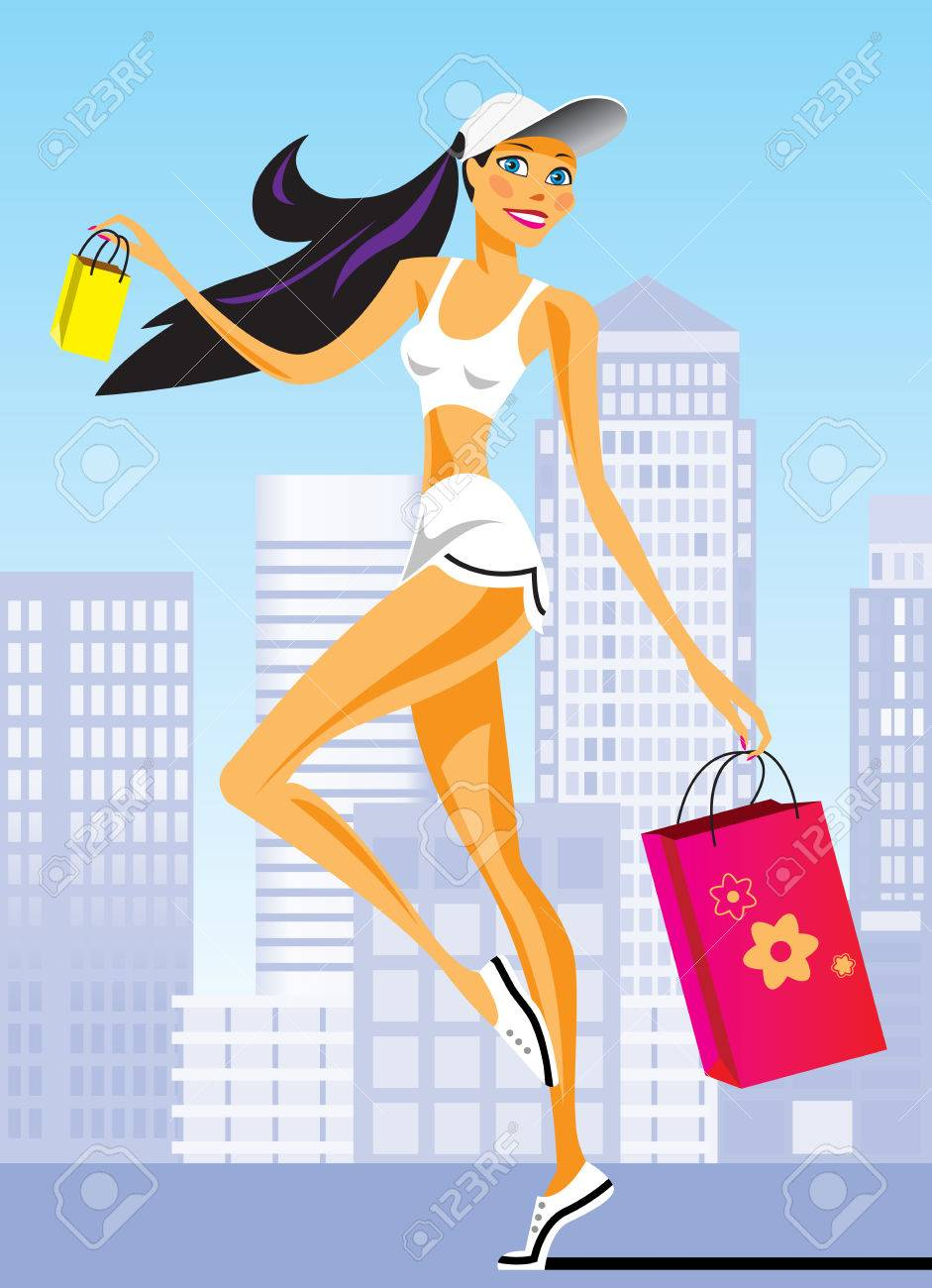 fashion shopping girls with shopping bag - vector illustration Stock Vector - 6111986