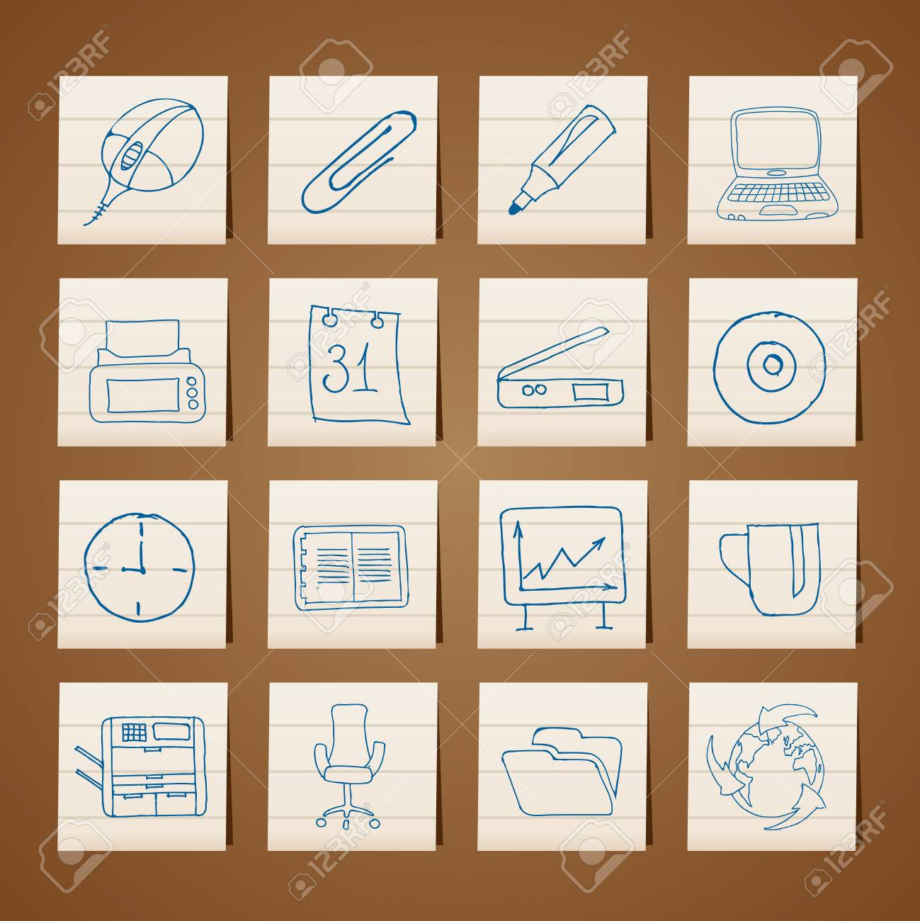 Office tools icons -  vector icon set Stock Vector - 6296238