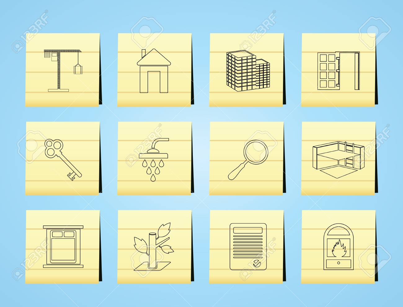 Simple Real Estate icons  Set Stock Vector - 6399073