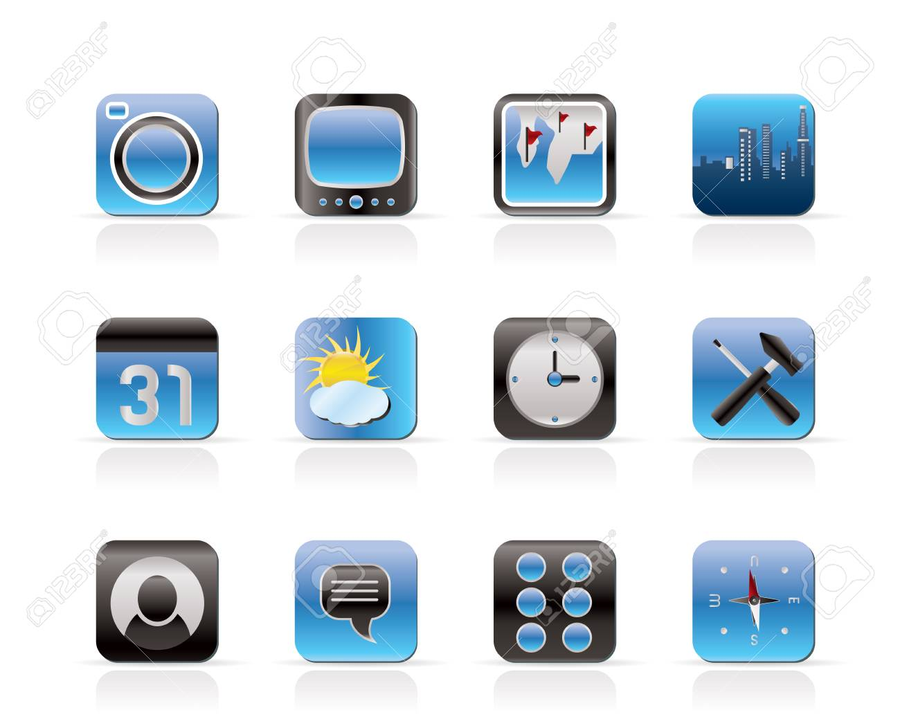 Mobile Phone and Computer icon  Set Stock Vector - 6399077