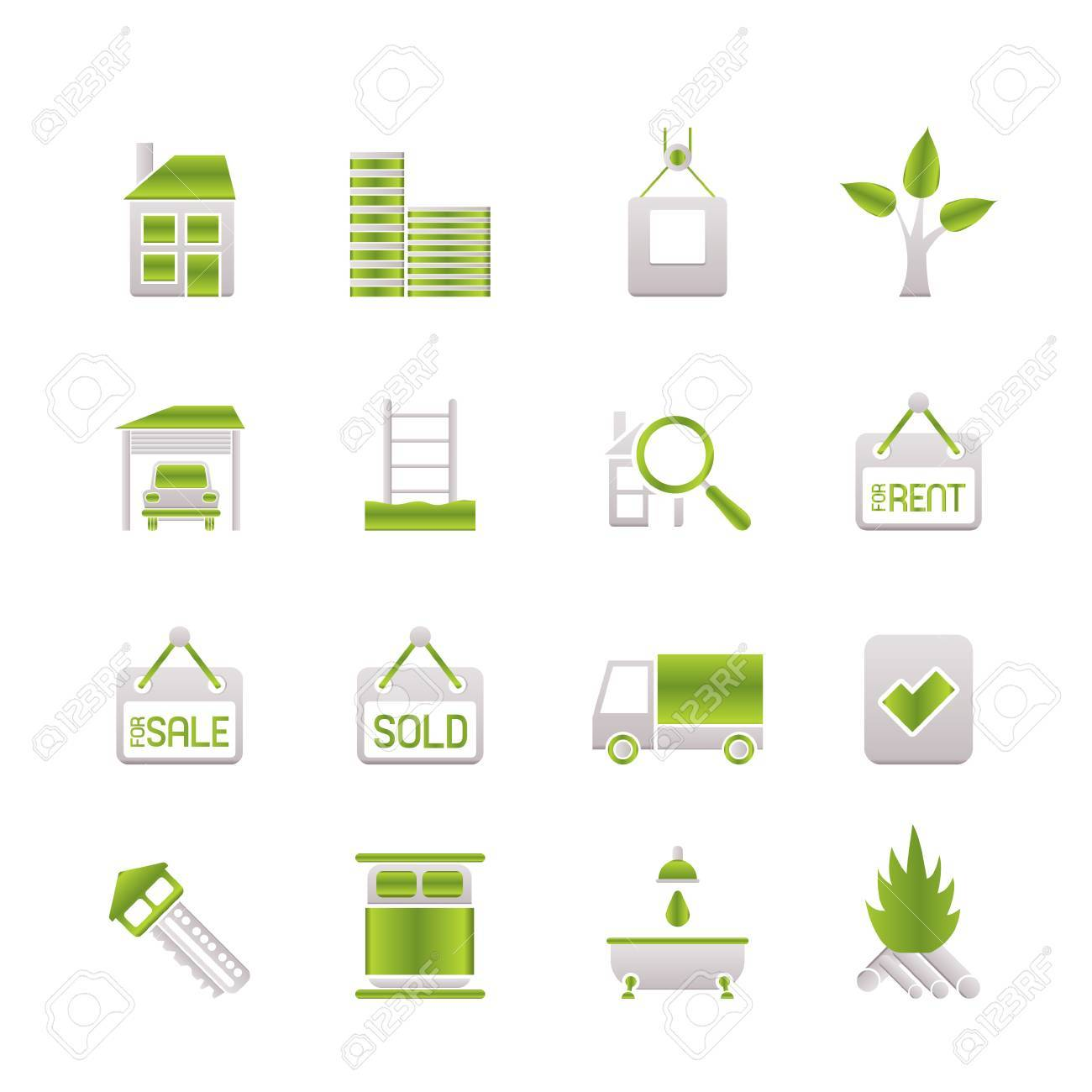 Real  Estate and building icons Stock Vector - 6775083