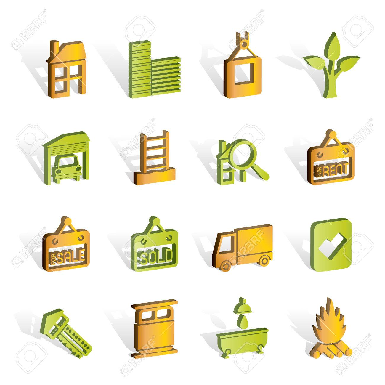 Real  Estate and building icons Stock Vector - 7008901