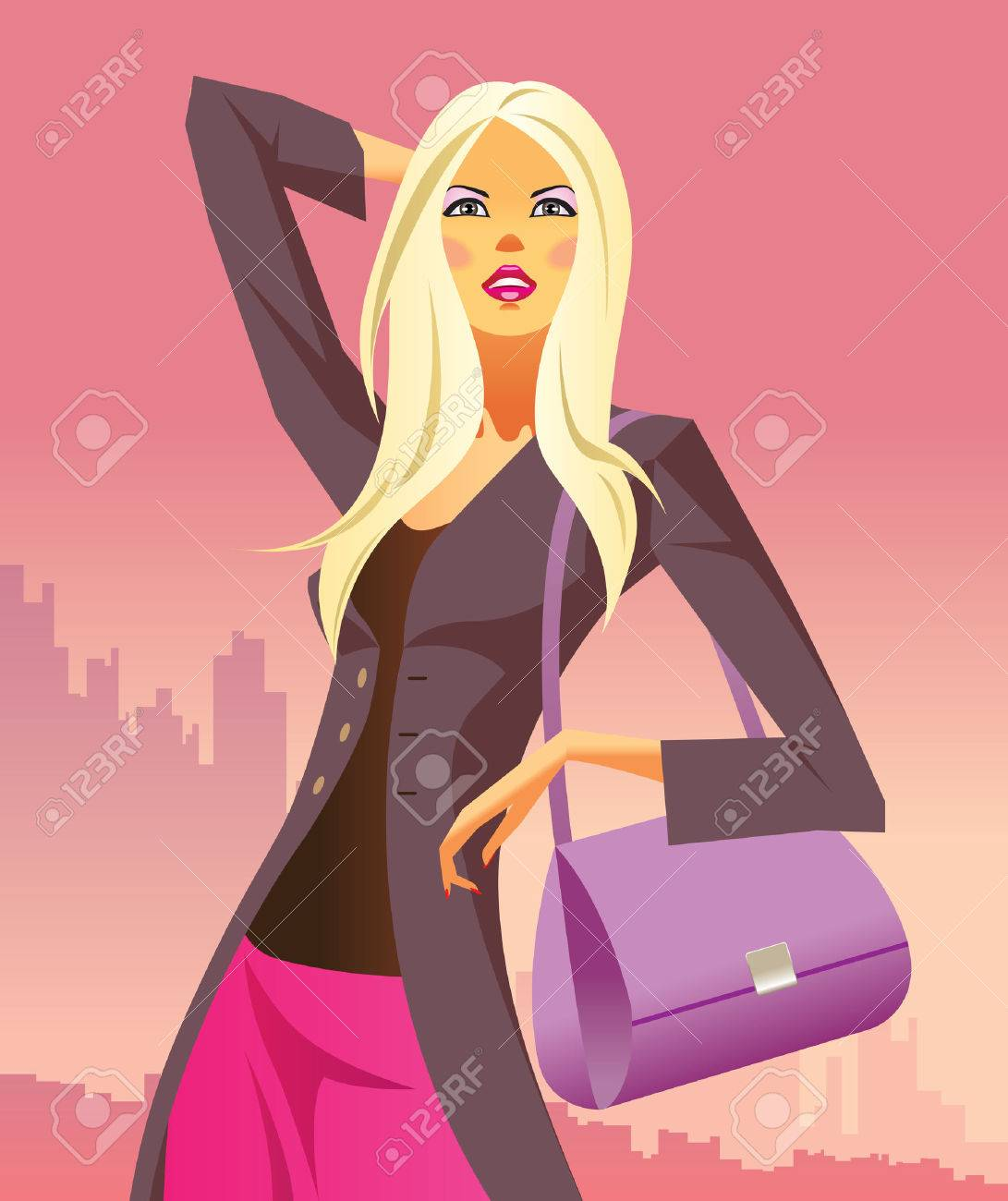 fashion shopping girls with  bag Stock Vector - 7008865