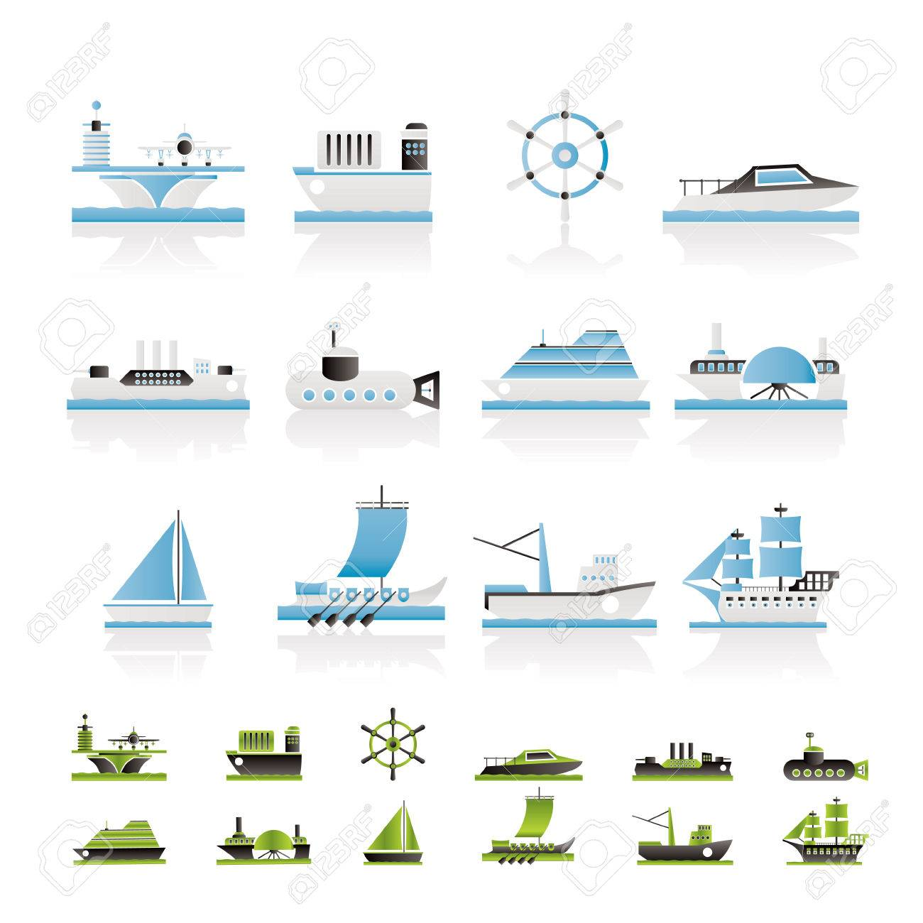 Different Types Of Boat And Ship Icons - Icon Set Royalty Free ...