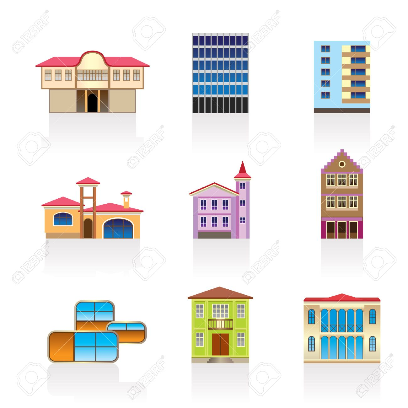 different kind of houses and buildings - Illustration 2 Stock Vector - 7071410