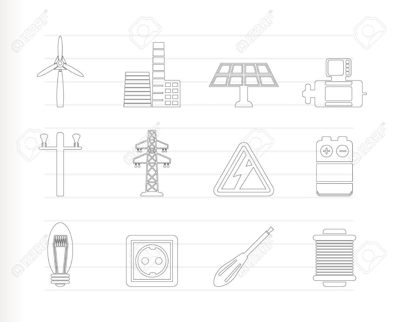 Electricity and power icons Stock Vector - 7337865