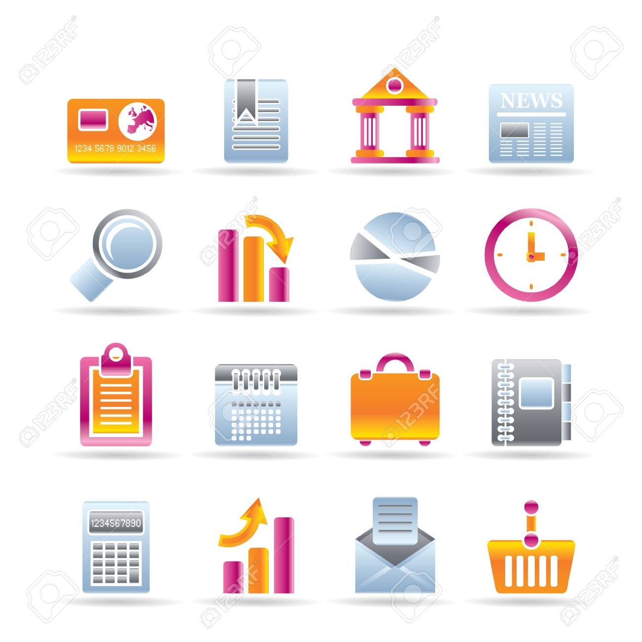 Business and Office Realistic Internet Icons Stock Vector - 7337876
