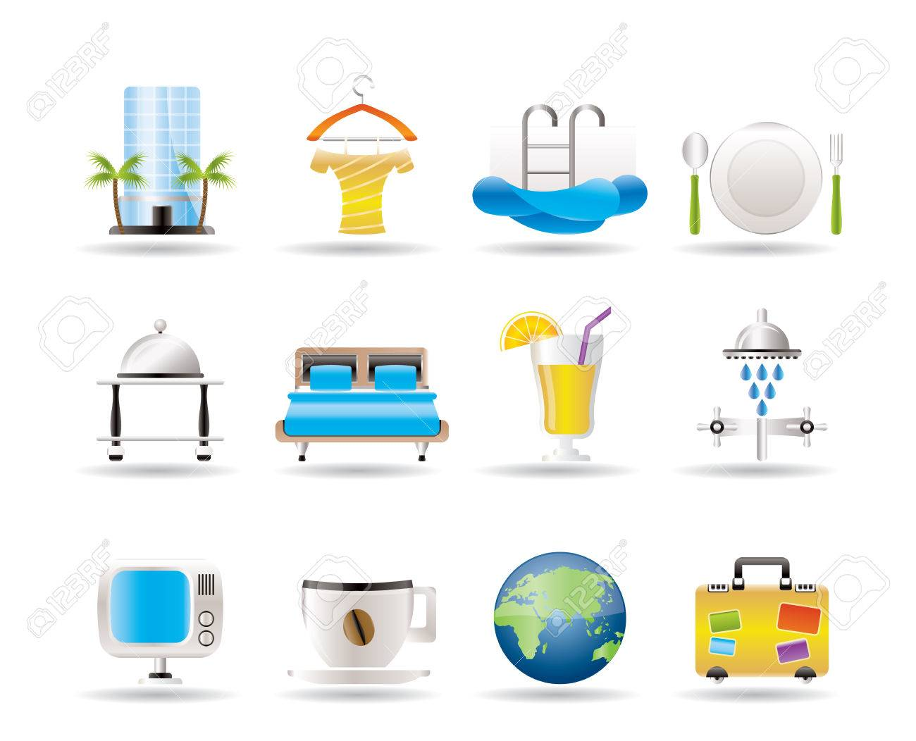 Hotel, motel and holidays icons - vector icon set Stock Vector - 7593949
