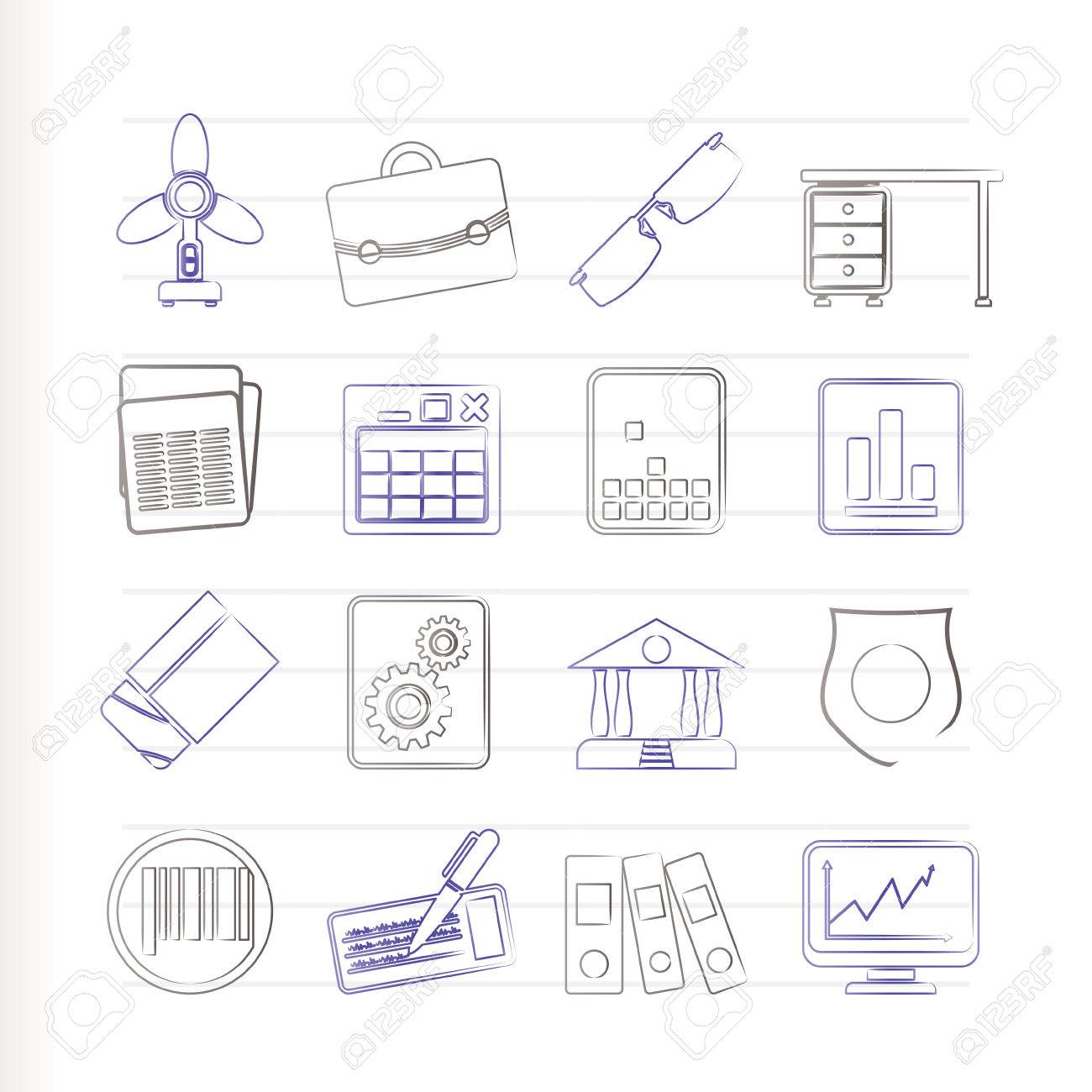 Business and Office Icons Stock Vector - 7701552