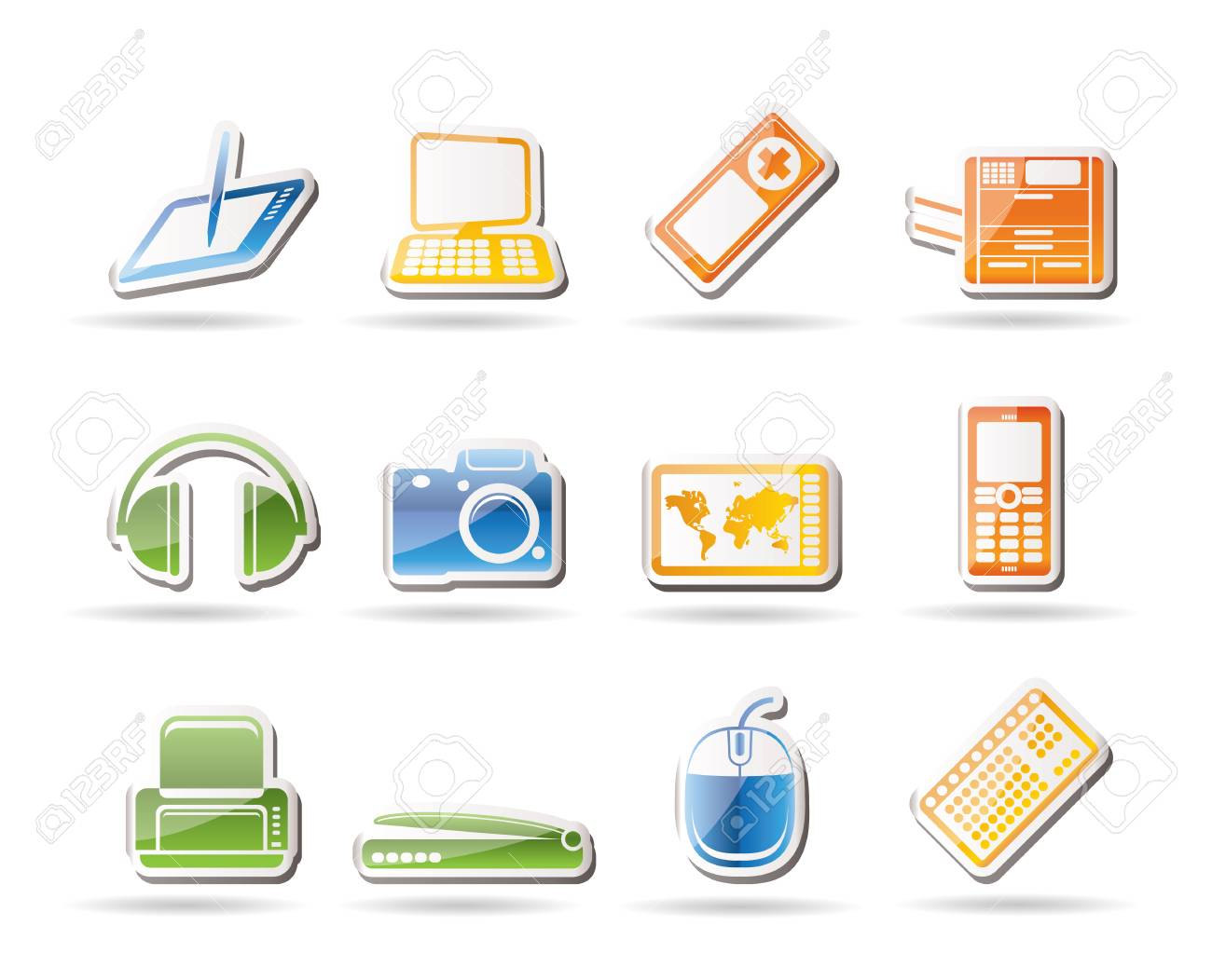 Simple Hi-tech technical equipment icons Stock Vector - 7816821