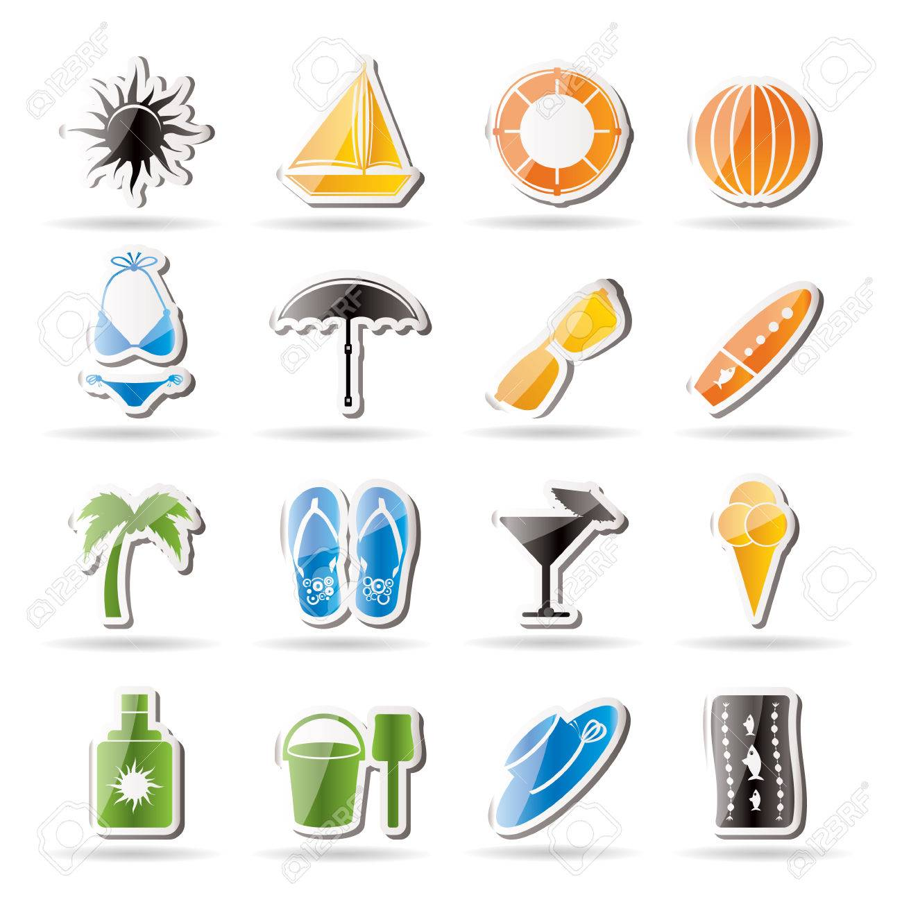 Simple Summer and Holiday Icons Stock Vector - 7816954