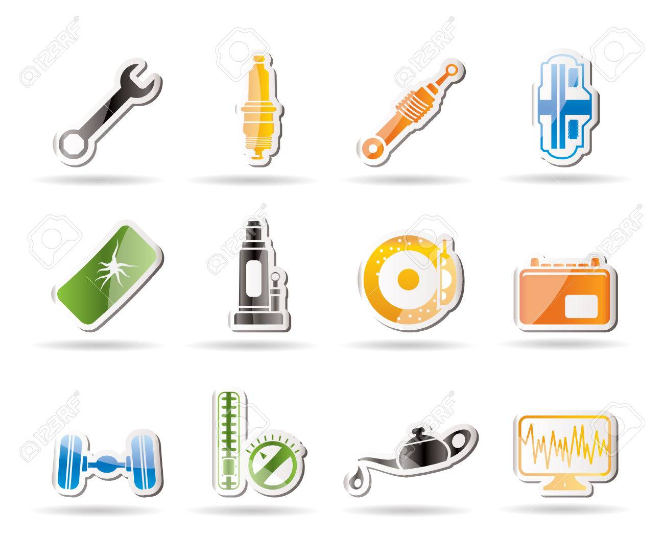 Simple Car Parts And Services Icons Royalty Free Cliparts, Vectors ...