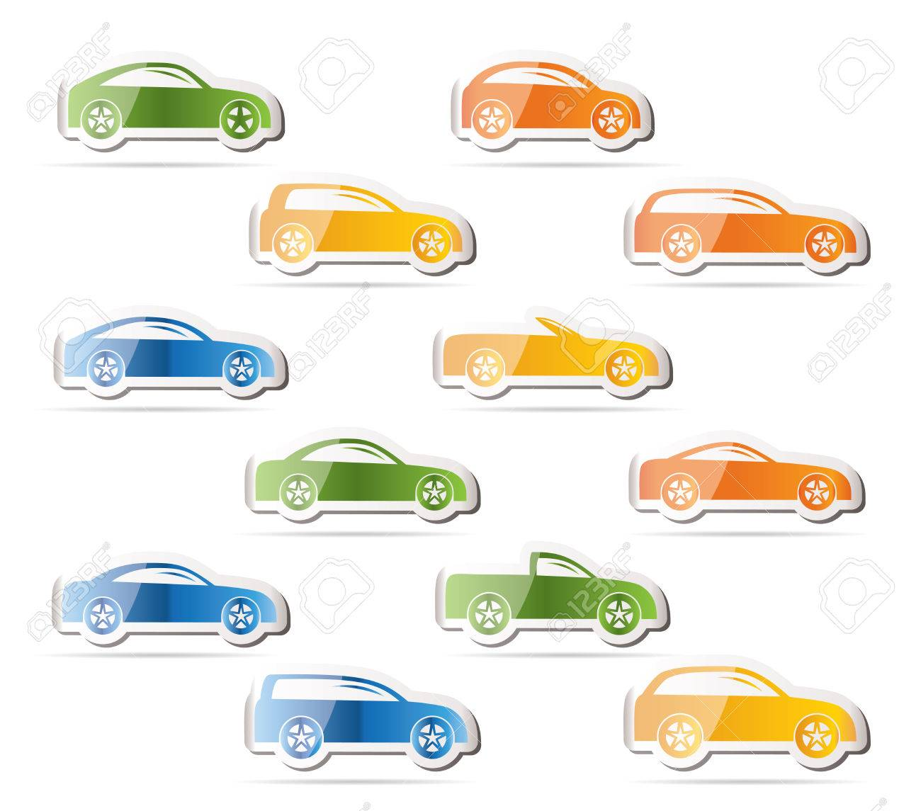 different types of cars icons Stock Vector - 7880211