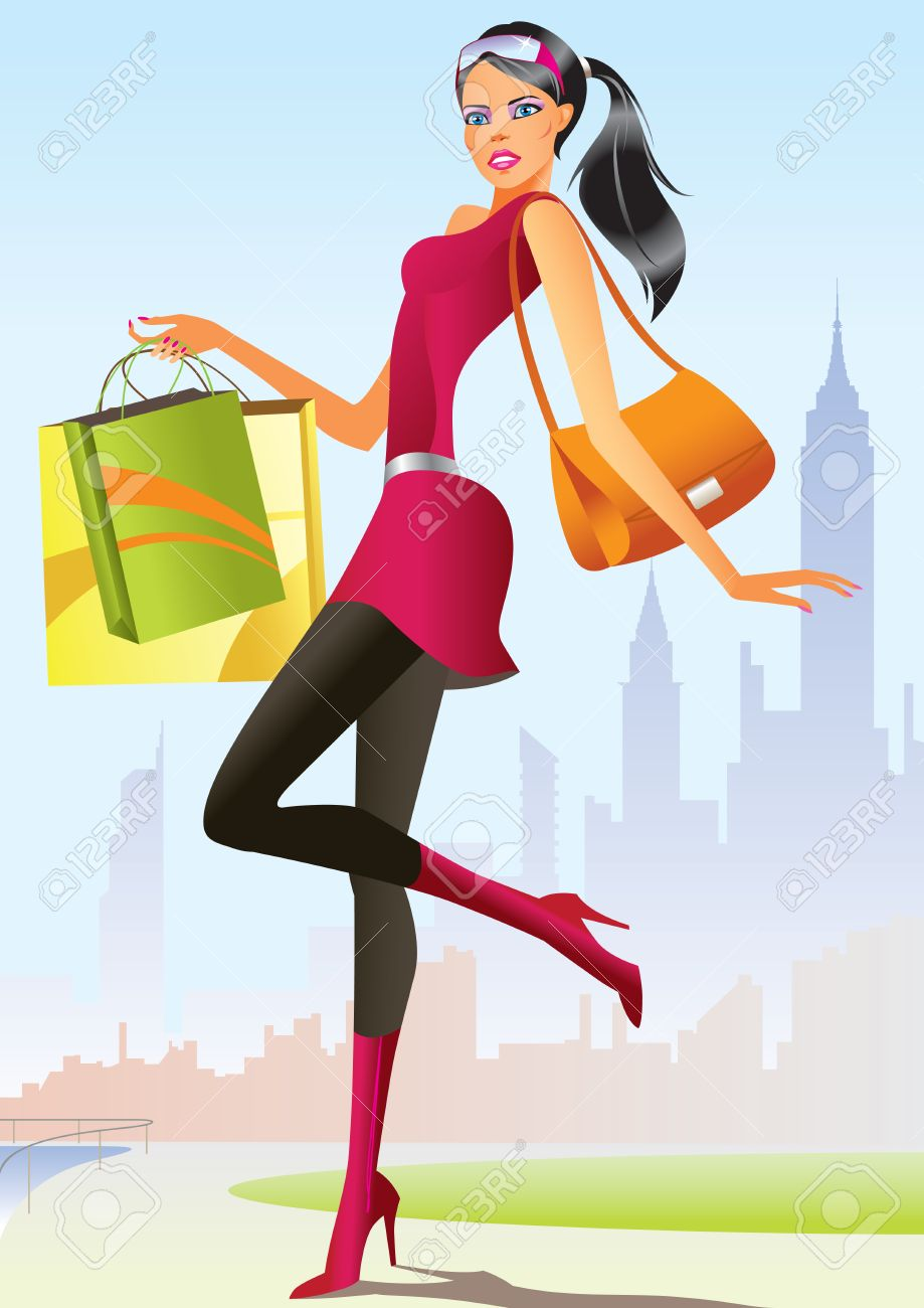 Fashion Shopping Girls With Shopping Bag Royalty Free Cliparts ...