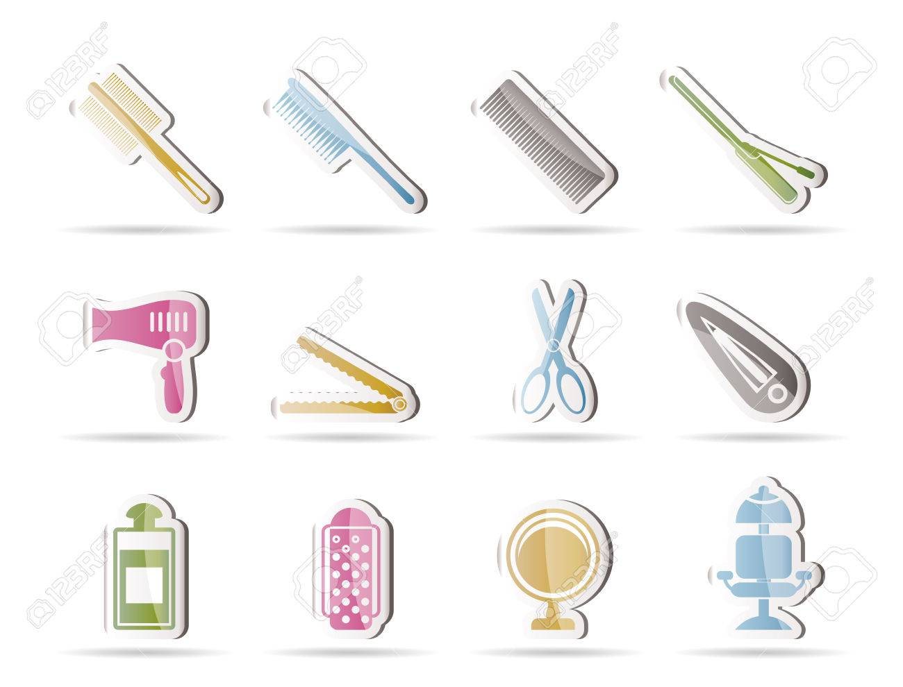 hairdressing, coiffure and make-up icons  - vector icon set Stock Vector - 8033127