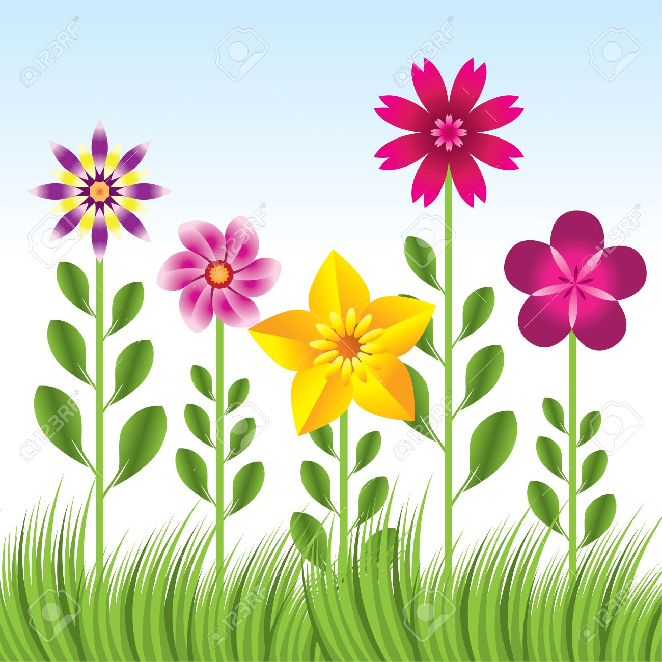 Flower garden cartoon - Abstract Flower Background With Grass Stock Vector 8033129