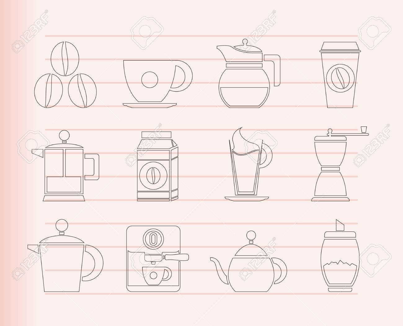 coffee industry signs and icons Stock Vector - 8033075