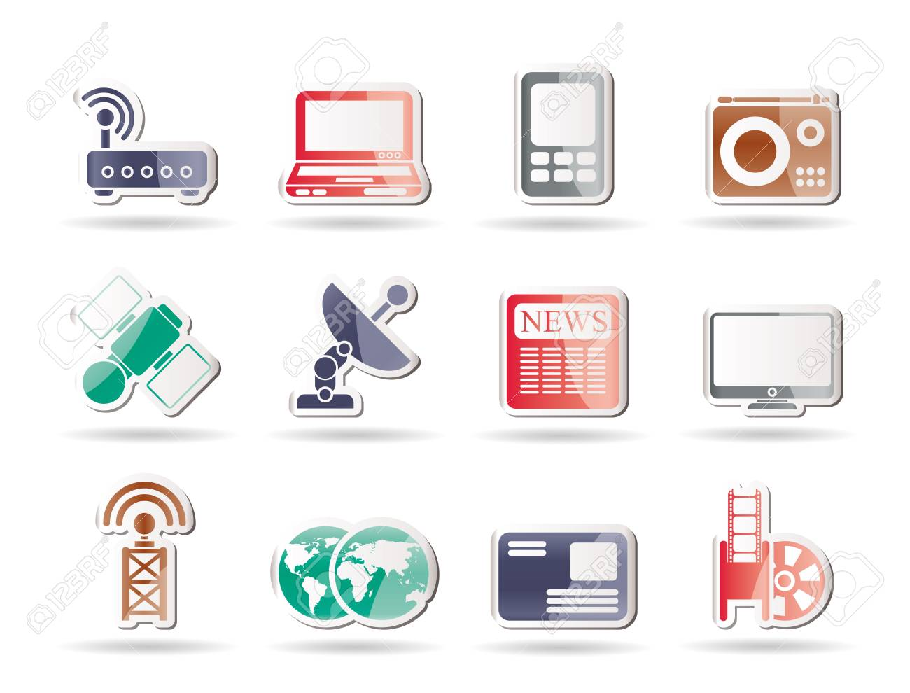 Business, technology  communications icons - icon set Stock Vector - 8130907