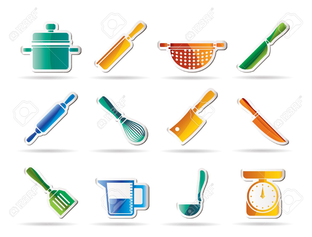 Kitchen Tools And Equipment cooking equipment and tools icons - icon set royalty free cliparts