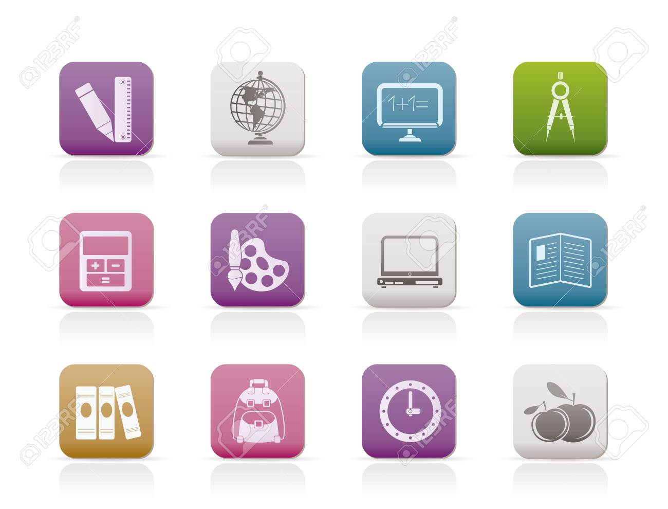 School and education icons Stock Vector - 8278494