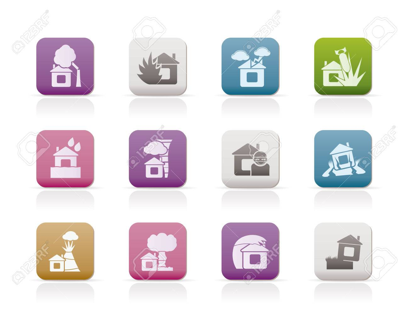 home and house insurance and risk icons Stock Vector - 8278493