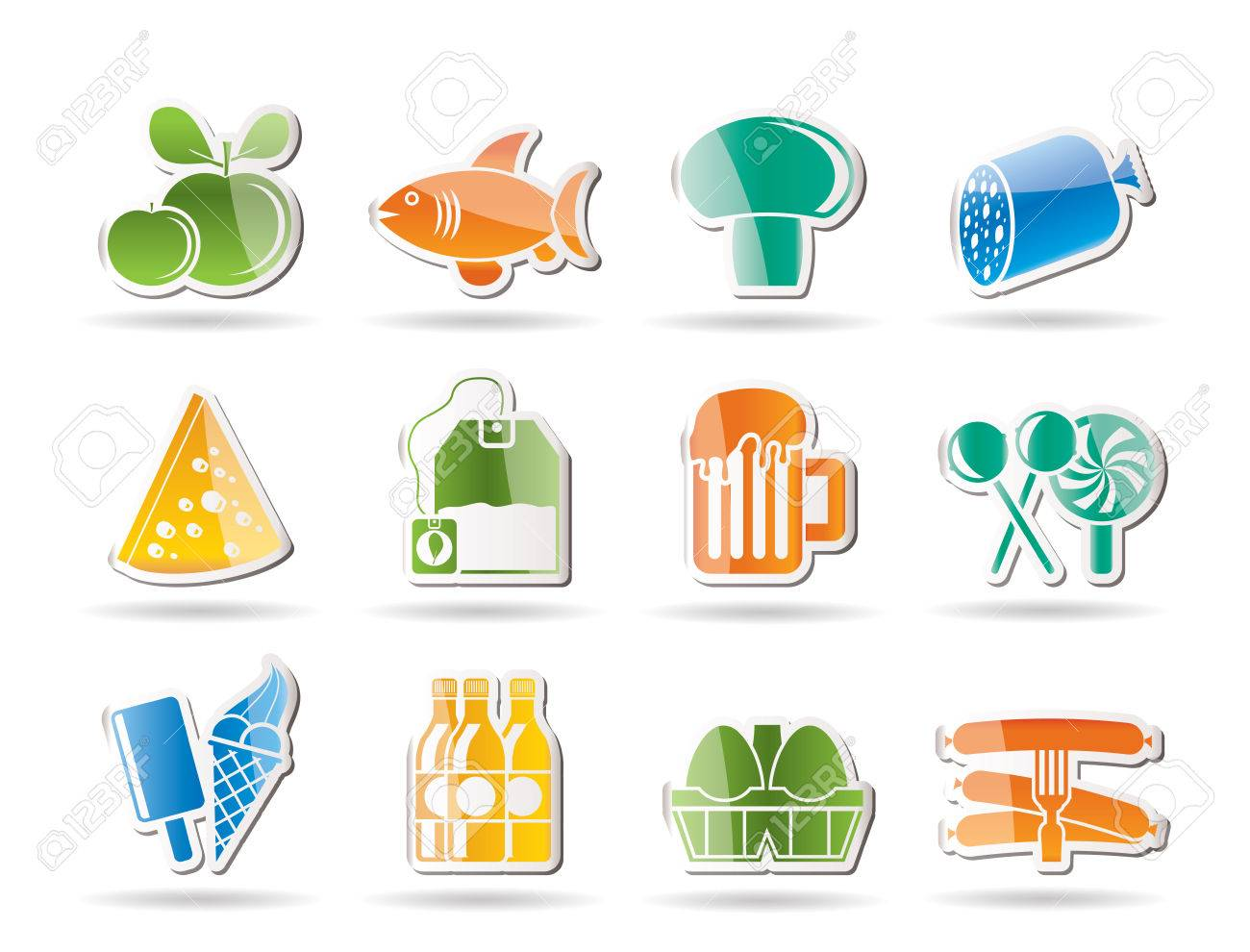 food, drink and shop icons - vector icon set Stock Vector - 8498969