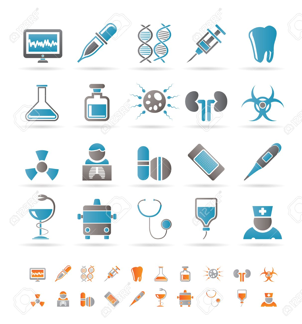 Healthcare, Medicine and hospital icons - vector icon set Stock Vector - 8498974