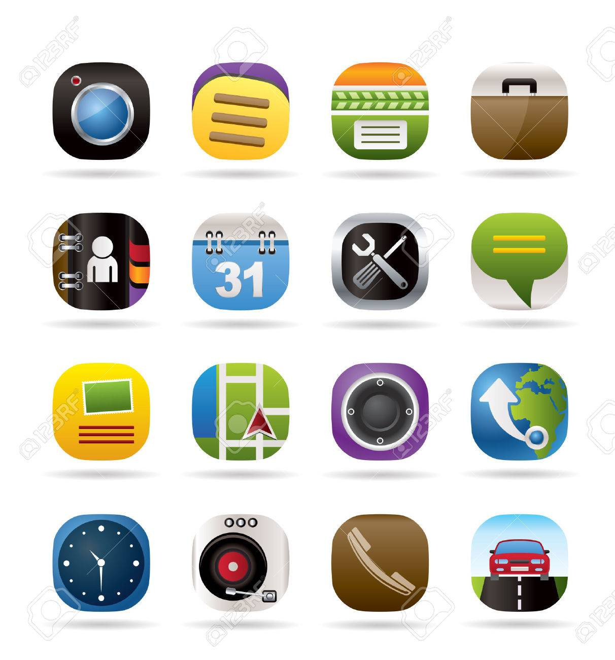 Mobile phone and computer icons - vector icon set Stock Vector - 8670332