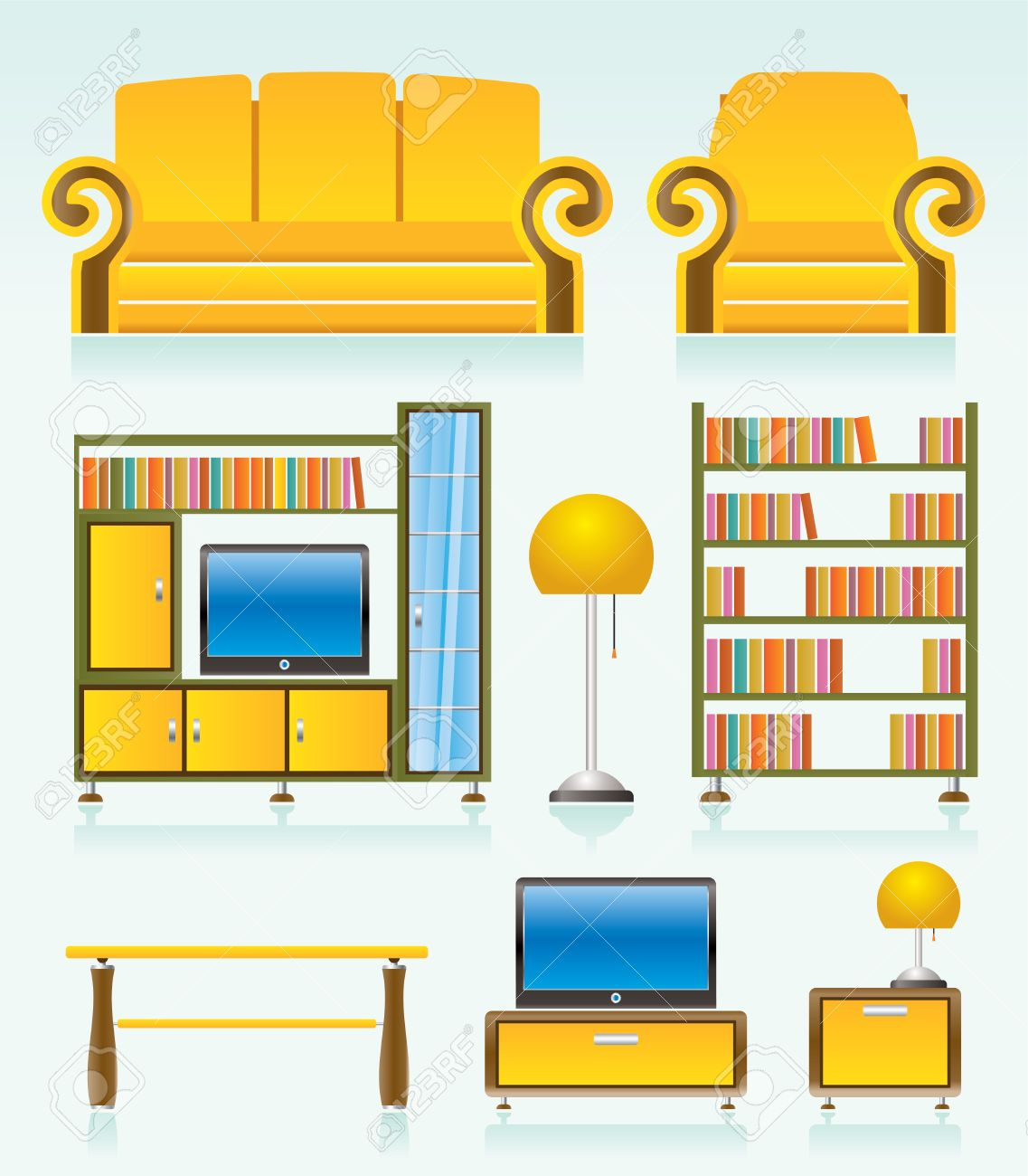 living room objects, furniture and equipment Stock Vector - 8738743