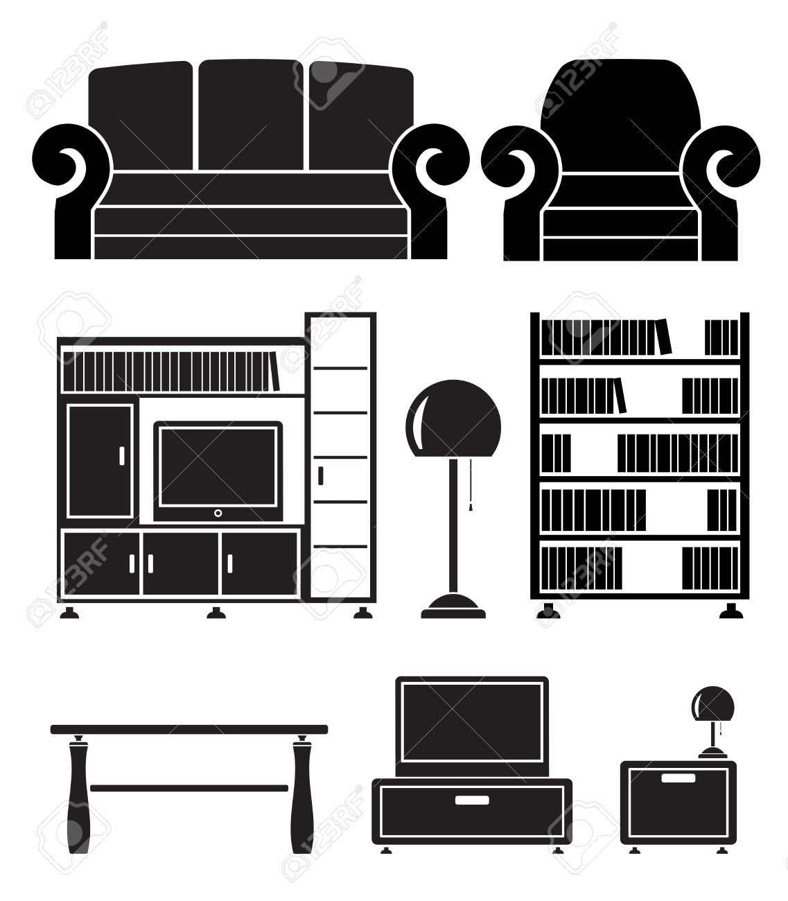 living room objects, furniture and equipment Stock Vector - 8865360