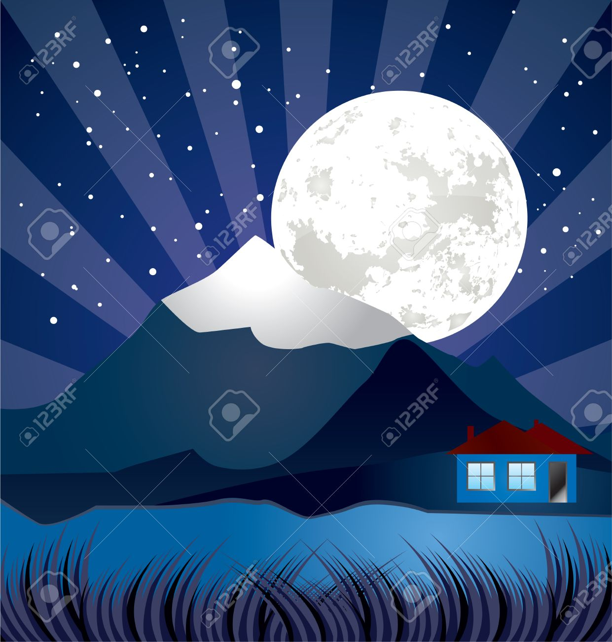 night landscape with river - vector, stars and moon illustration Stock Vector - 8946015